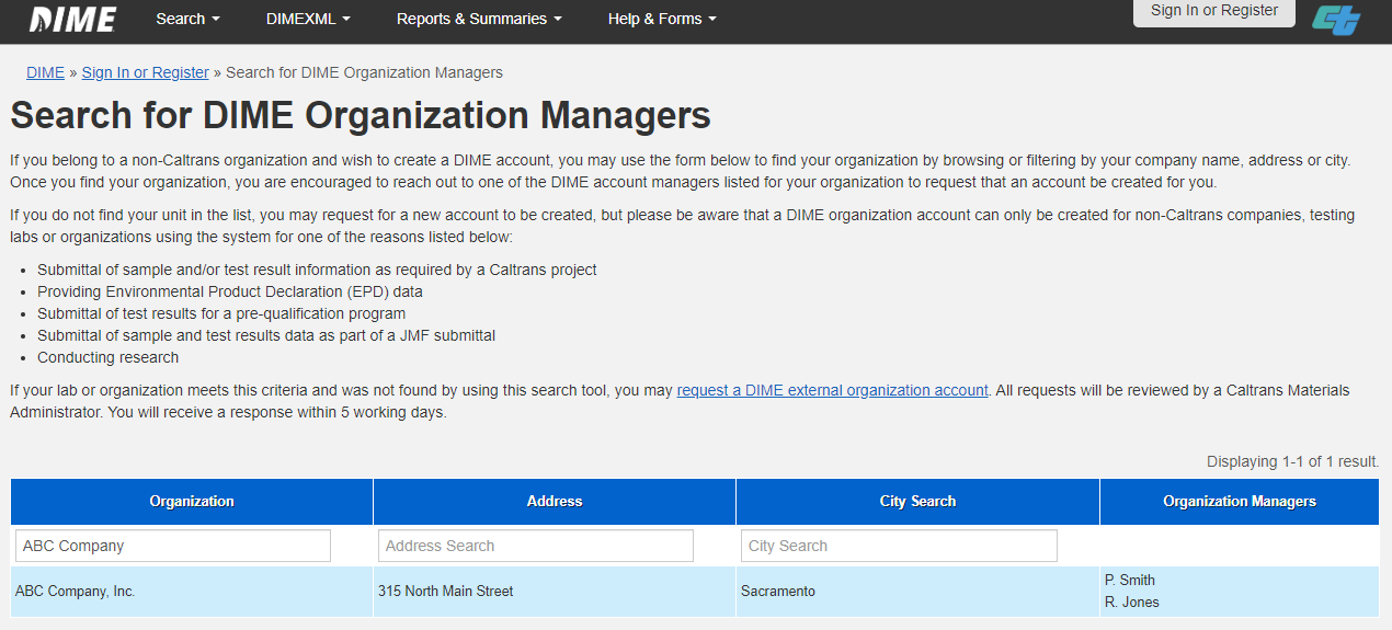 Search for an existing DIME organization account